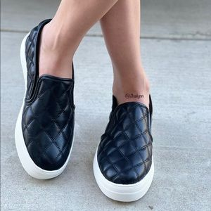 Black Platform Quilted Slip on sneakers